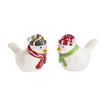 Kissing Birds in Winter Hats Holiday Salt and Pepper Shaker Set
