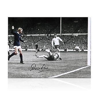 Denis Law Signed Scotland Photograph: Goal Against England