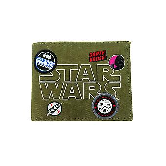 Star Wars Patches Badges Canvas Bill Fold Geldbörse grün Khaki