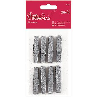 Papermania Create Christmas Glitter Pegs 8/Pkg-Silver PM174924