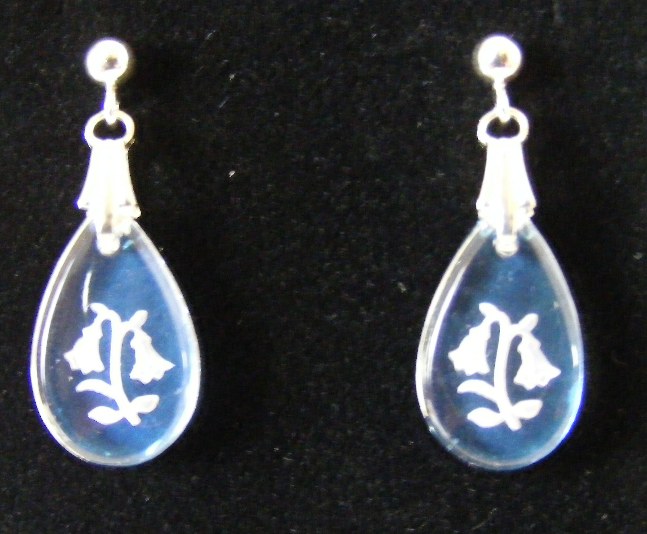 Ice Blue Teardrop Bluebell Crystal Earrings