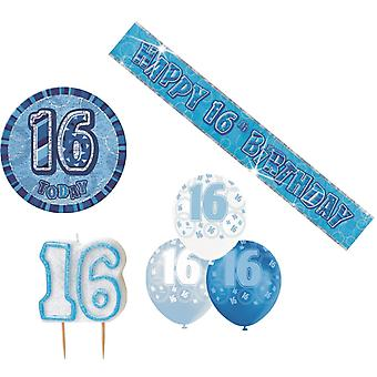 16th BIRTHDAY GLITZ DESIGN BLUE & SILVER PARTY PACK BALLOON BANNER CANDLE BADGE
