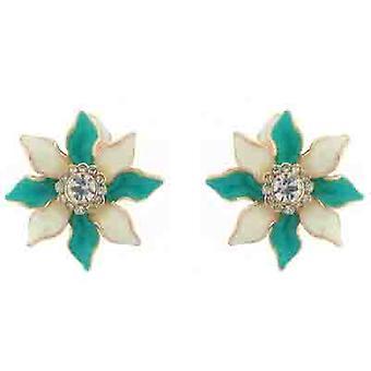 Clip en la tienda de pendientes esmalte azul y blanco y flores de lirio de cristal Clip en pendiente