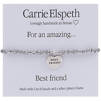 Carrie Elspeth For An Amazing Best Friend Sentiment Heart Stretch Bracelet