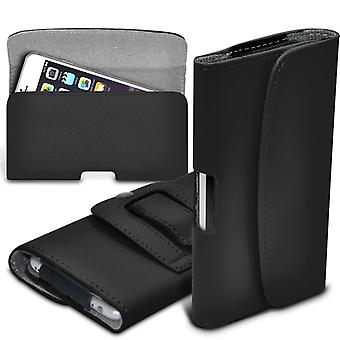 ONX3 (Black)  Samsung Galaxy Folder 2 SM-G1600 Case High Quality Faux Leather Horizontal Executive Pouch Holster Belt Clip Cover Case