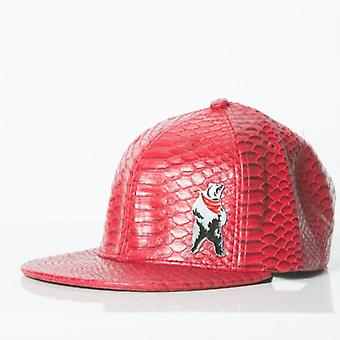 Polar whites mens red faux leather python print cap o : o