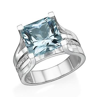 Aquamarin 2.20 Ctw Ring mit Diamanten 14K White Gold Bridge Kanal set Prinzessin