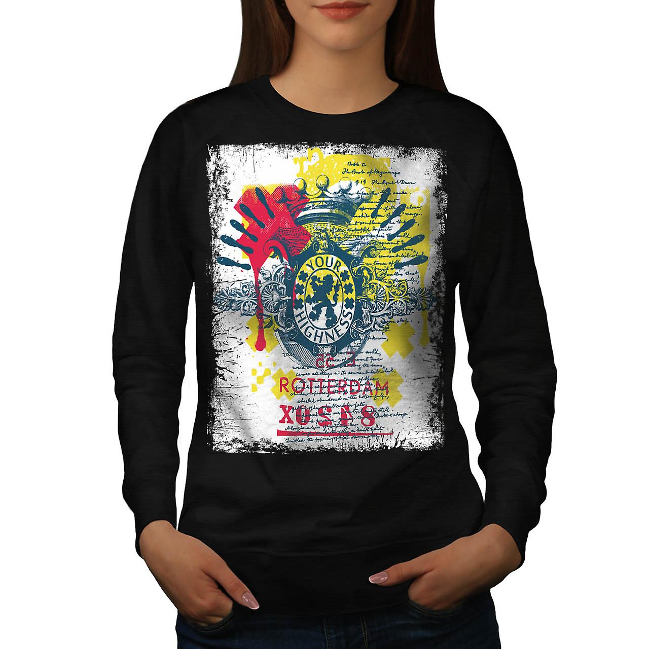 Høyhet Rotterdam europeiske UK Women svart Sweatshirt | Wellcoda