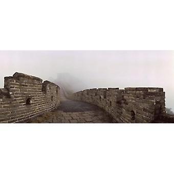 Fortified wall in fog Great Wall of China Mutianyu Huairou County China Poster Print