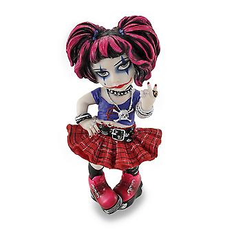 Cosplay Kids Mini Goth Punk Girl Giving Peace Sign Statue