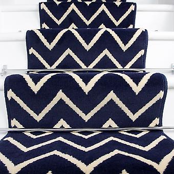 80cm Width - Modern Navy Zig Zag Chevron Stair Carpet