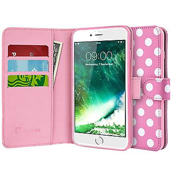 iPhone 7 Case,i-Blason [Wallet Case] Credit Card ID Holders, Apple Iphone 6-Dal/Pink