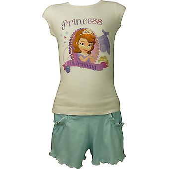Girls Disney Princess Sofia The First 2 Piece Set Short Sleeve T-Shirt & Shorts