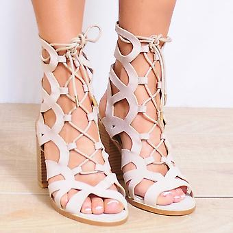 Koi Couture Lace Up Heels - Ladies Monaco-3 Nude Strappy Sandals