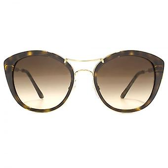 Burberry Fabric Temple Double Bridge Sunglasses In Dark Havana