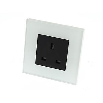 I LumoS Luxury Unswitched White Glass Frame UK 13A Wall Plug Single Socket