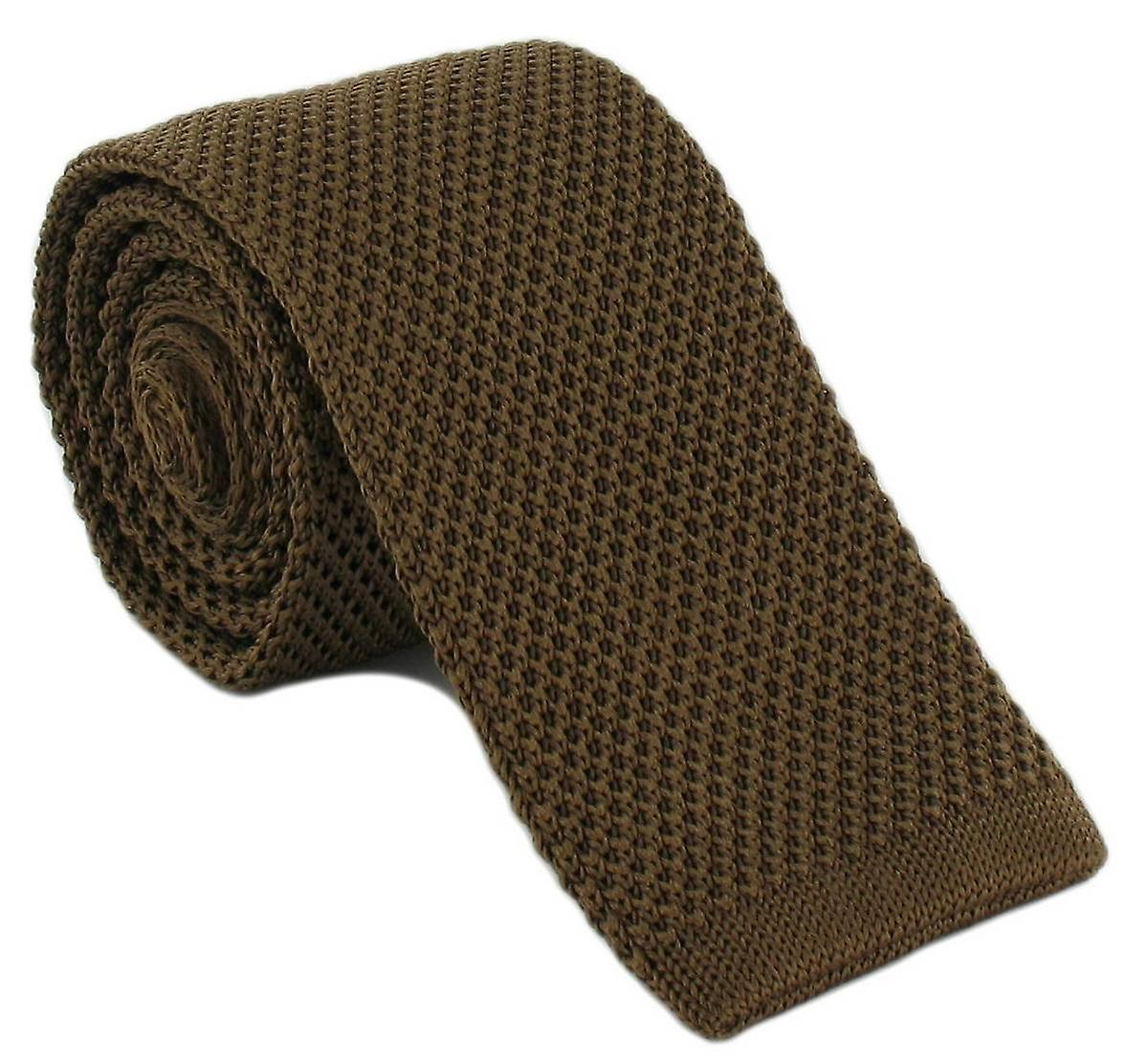 Michelsons av London Skinny Silk stickad slips - Brown