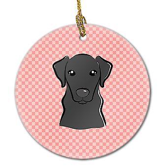 キャロラインズ宝物 BB1235CO1 市松模様ピンク黒ラブラドール セラミック飾り