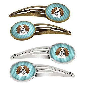 Scacchiera Spaniel Cavalier blu Set di 4 clip di capelli Barrettes