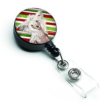Canna di caramella crestato cinese vacanza Natale retrattile Badge Reel