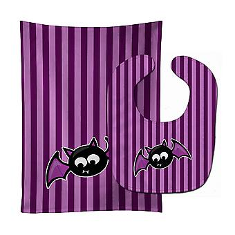 Halloween Bat lilla striper Baby Bib & Burp klut