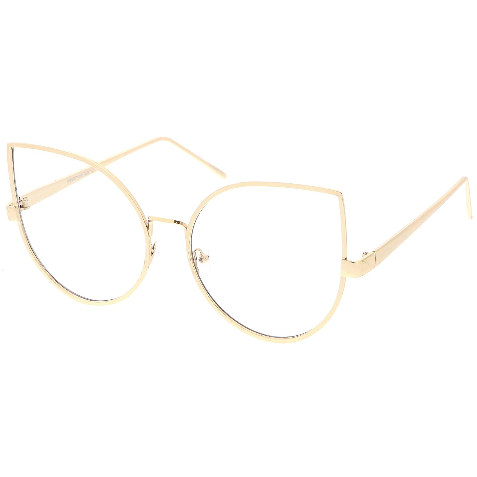 566920ddf57 Oversize Metal Cat Eye Glasses With Slim Arms Clear Round Flat Lens 62mm