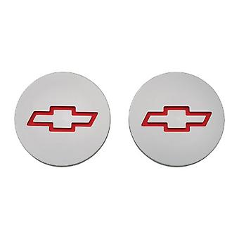 Proform 141-233 Plain Billet Aluminum Freeze Plug Insert with Recessed Red Chevy Bowtie Logo for Small Block Chevy - Pai