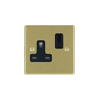 Hamilton Litestat Hartland Satin Brass 1g 13A DP Switched Socket BL/BL
