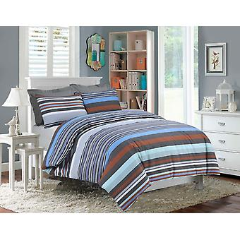 Chelsea Multi Stripes Percale Duvet Cover Polycotton Bedding Set