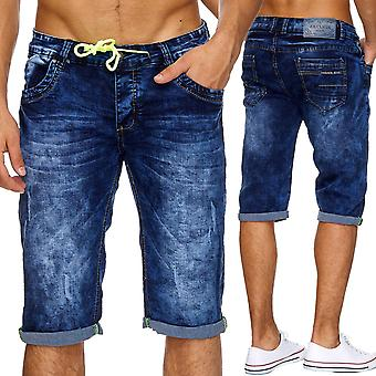 Men's jeans shorts short trousers Stonewashed tore destroyed summer neon Capri