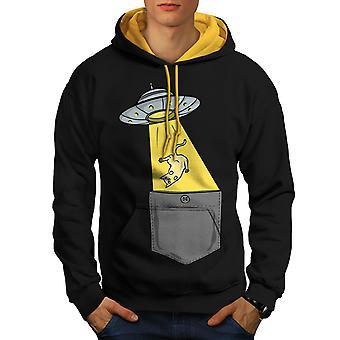 Beings Abduction Men Black (Gold Hood)Contrast Hoodie | Wellcoda