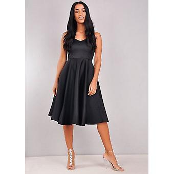 Satin V-Ausschnitt Riemchen Midi Kleid schwarz