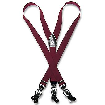 Men's Solid SUSPENDERS Y Shape Back Elastic Button & Clip Convertible