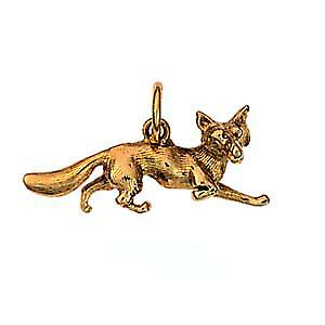 9ct Gold 6x23mm running Fox pendant or charm