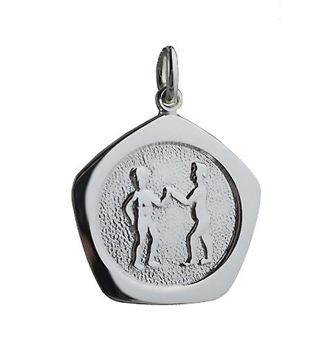 Silver 21mm five sided Gemini Zodiac Pendant