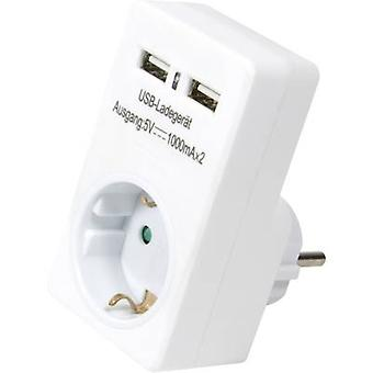 USB charger Mains socket LogiLink PA0112 Max. output current 2000 mA 2 x USB, PG socket