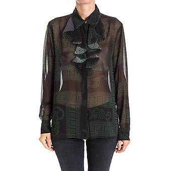 Versace collection women's G35246G603552G7595 black/green polyester blouse