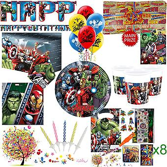 Avengers Party Kit For 8 Guests With Pre Filled Party Bags, Pass The Parcel, Banner, Balloons And Tableware - Ultimate Set With FREE Downloadable Party Games