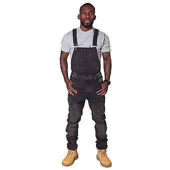 Slim Fit Men's Dungarees - Faded Black Denim Overalls for Men Bib Down Dungarees