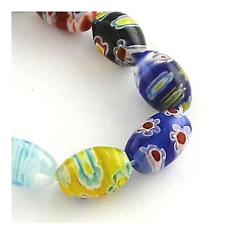 Packet 30 x Mixed Millefiori Glass 8 x 12mm Oval Beads Y03375
