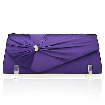GABRIEL Purple satijn middelgrote geplooide vouw Over Clutch tas