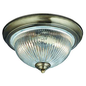 American Diner - 2 Light Ip44 Ceiling Flush, Antique Brass, Clear Glass
