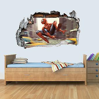 L Vinyl Wall Smashed 3D Art Stickers of Illustrated SPIDERMAN Poster Bedroom Boys Girls