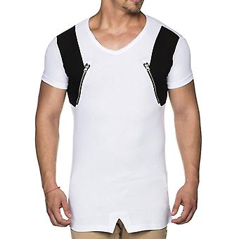 TAZZIO men's T-Shirt with Kunstlederpatche white