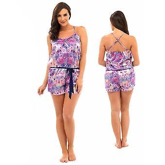 Ladies Floral Print Satin Pyjama Playsuit Nightwear Various Colours and Sizes
