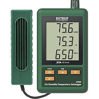 Multi-channel data logger Extech SD800 Unit of measurement Temperature, CO2, Humidity 0 up to 50 °C 10 up to 90 % RH 0 ppm 3000 ppm Calibrated to Manufacturers
