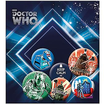Doctor Who Retro 6 Pin Badges In Pack Incl. Keep Calm, I'M The Doctor