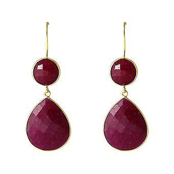 Gemshine - Damen - Ohrringe - 925 Silber - Vergoldet - Rubin - Rot - CANDY - Tropfen - 6 cm
