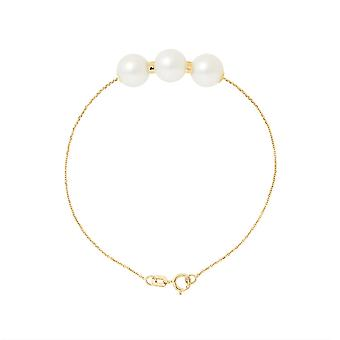 3 culture of freshwater pearls white AA woman bracelet and yellow gold 750/1000