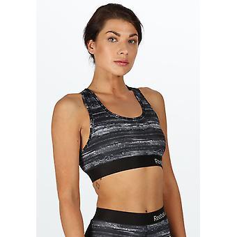 Reebok Fitness Frauen Leistungssport Crop Top BH schwarz weißen Streifen Latoya